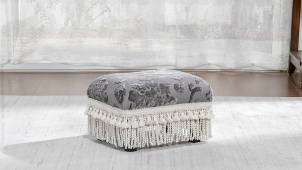 Fiona Traditional Decorative Footstool, Floral Grey