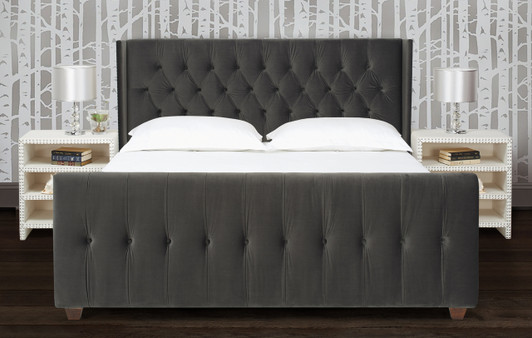 David Tufted Wingback Upholstered Bed, Queen, Dark Charcoal Grey