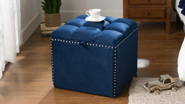 Natalia Storage Ottoman, Navy Blue