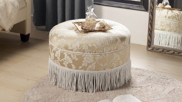 Yolanda Decorative Round Ottoman, Jacquard, Neutral