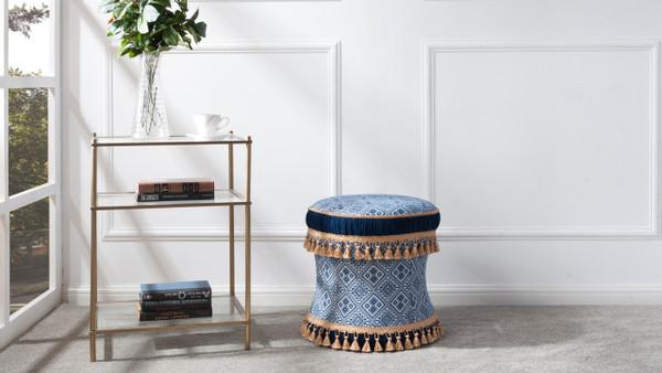 Leona Decorative Vanity Stool, Yarn Dyed, Navy & White