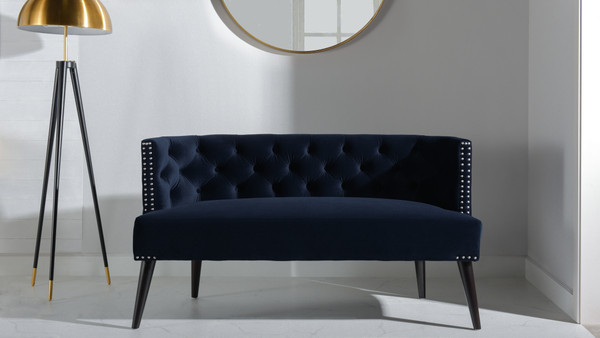Celine Tufted Settee, Dark Navy Blue