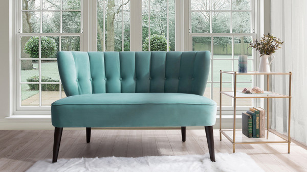 Becca Tufted Channel Back Settee, Arctic Blue