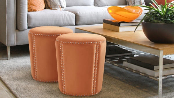 Landon Accent Ottoman, Orange