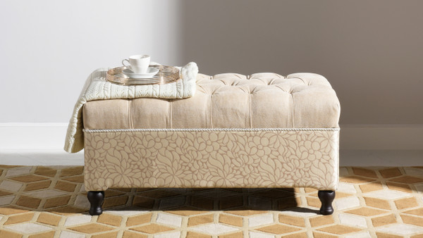 Naomi Entryway Storage Bench, Parchment
