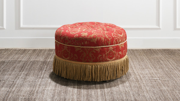 Yolanda Decorative Round Ottoman, Jacquard, Red & Gold