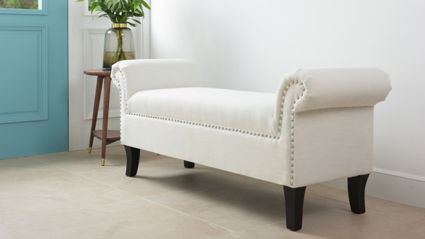 Kathy Roll Arm Entryway Accent Bench, Bright White