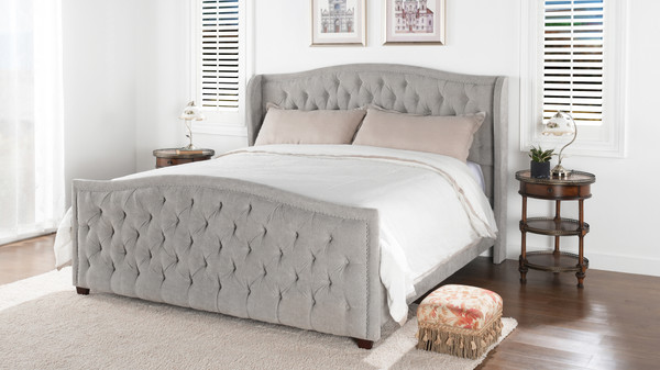 Marcella Tufted Wingback Upholstered Bed, King, Silver Grey