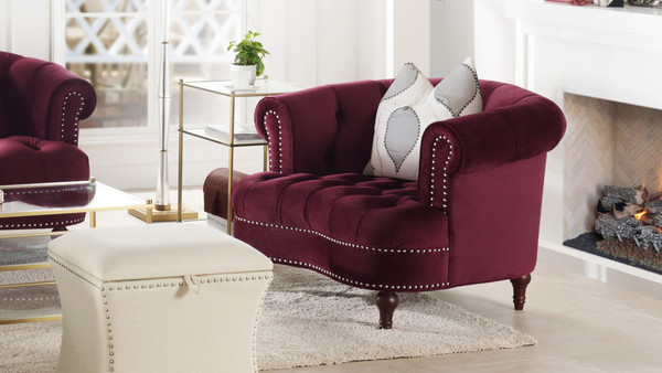 La Rosa Tufted Accent Chair, Burgundy