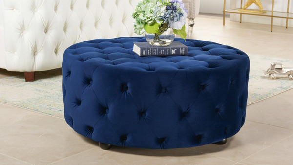 Savannah Round Cocktail Ottoman, Navy Blue