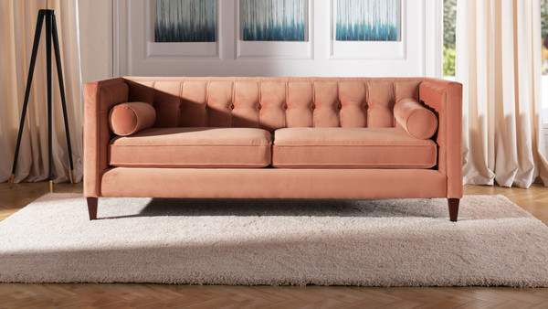Jack Tuxedo Sofa, Peach Orange