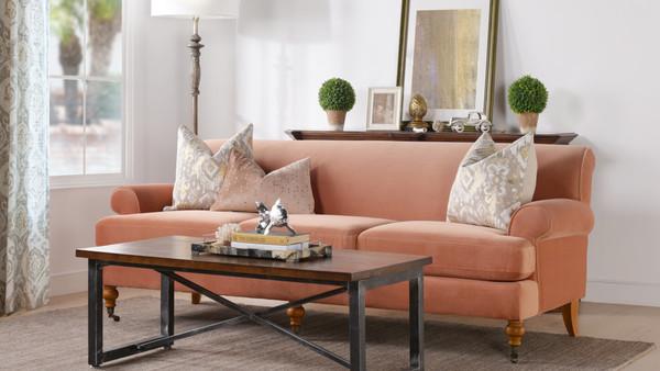 Alana Lawson Recessed Arm Sofa, Peach Orange