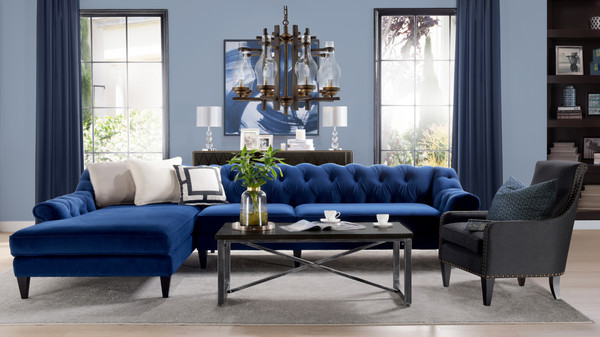 Alexandra Tufted Left Sectional Sofa, Navy Blue
