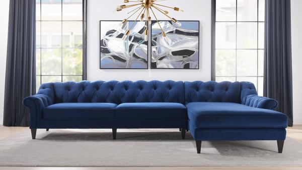 Alexandra Tufted Right Sectional Sofa, Navy Blue