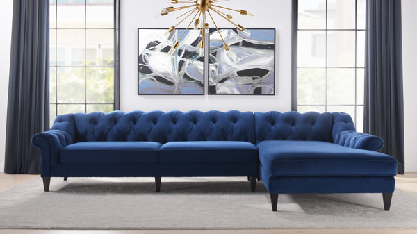 Alexandra Tufted Right Sectional Sofa, Navy Blue