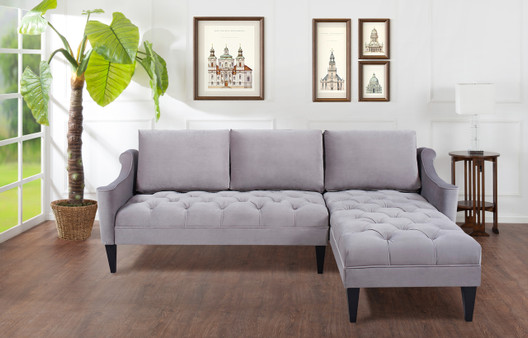 Amelie Reversible Chaise Sectional, Opal Grey
