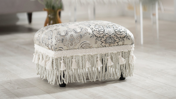 Fiona Traditional Decorative Footstool, Paisley Multicolored