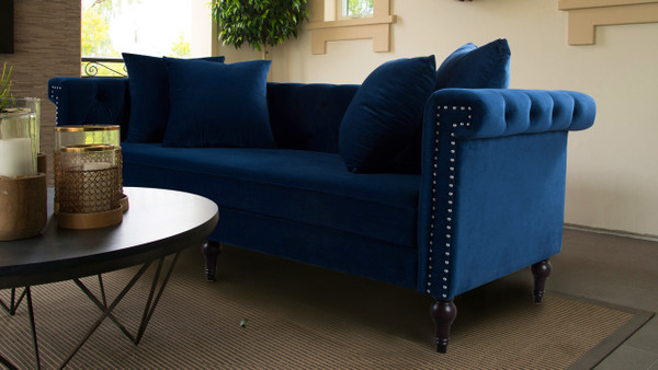 Jasmine Chesterfield Sofa, Navy Blue