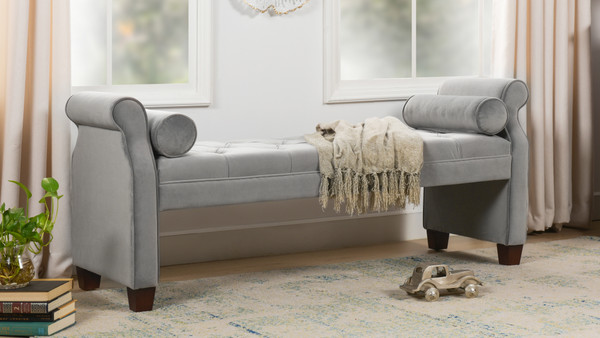 Jocelyn Roll Arm Lounge Entryway Bench, Opal Grey