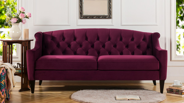 Ken Upholstered Button Tufted Sofa, Burgundy