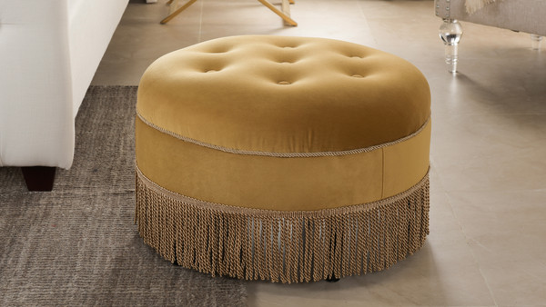 Yolanda Decorative Round Ottoman, Velvet, Gold