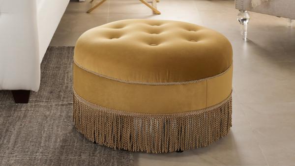 Yolanda Decorative Round Ottoman, Velvet, Gold