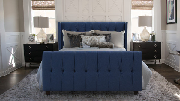 David Upholstered Bed, Queen, Dark Sapphire Blue