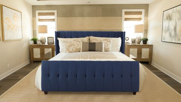 David Upholstered Bed, King, Dark Sapphire Blue