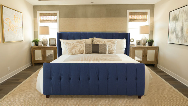 David Upholstered Bed, King, Dark Sapphire Blue