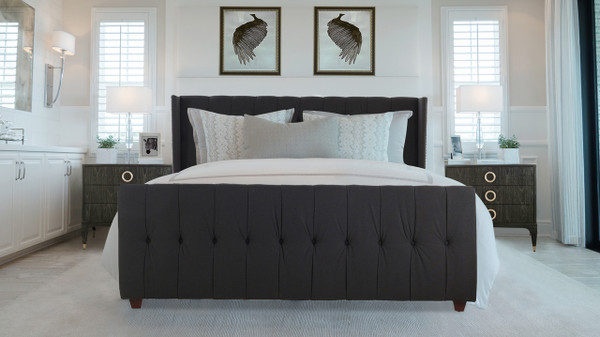 David Upholstered Bed, King, Jet Black