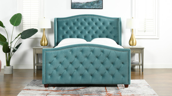 Marcella Upholstered Bed, Queen, Arctic Blue