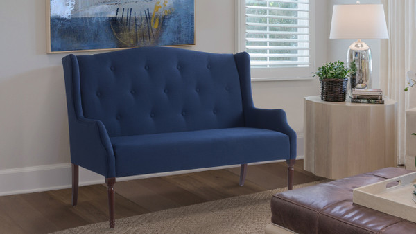 Izzy Tufted Settee, Midnight Blue
