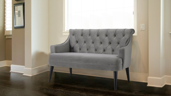 Stella Tufted Settee, Opal Grey