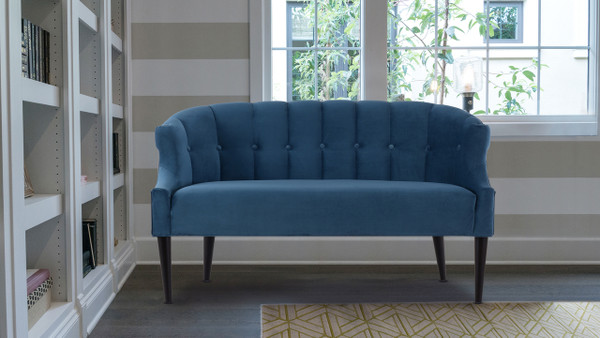 Skylie Recessed Arm Settee, Satin Teal