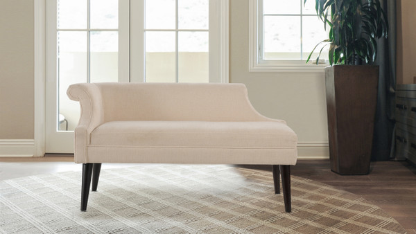 Jenna Single Roll Arm Bench, Crème Brulee