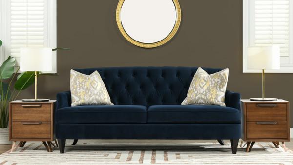 Kelly Hand Tufted Sofa, Dark Navy Blue