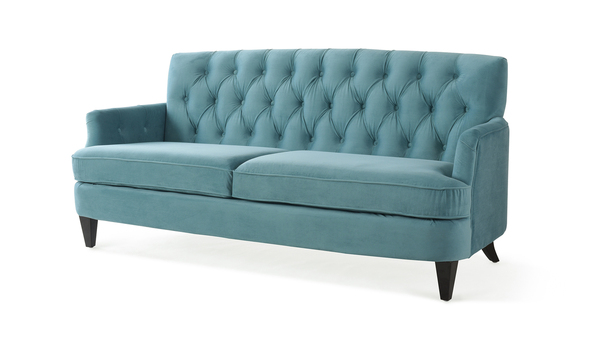 Kelly Hand Tufted Sofa, Arctic Blue