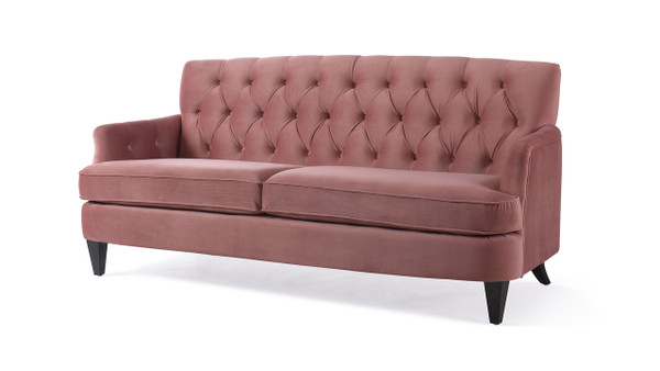 Kelly Hand Tufted Sofa, Ash Rose