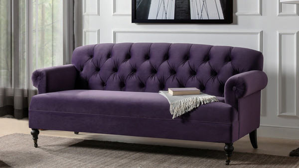 Mackenzie Tufted Rolled Arm Sofa, Purple