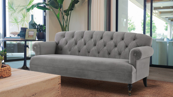 Mackenzie Tufted Rolled Arm Sofa, Opal Grey