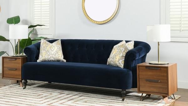 Maxine Tufted Upholstered Sofa, Dark Navy Blue