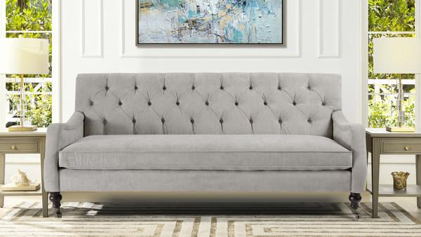Xander Tufted Sofa, Silver Grey