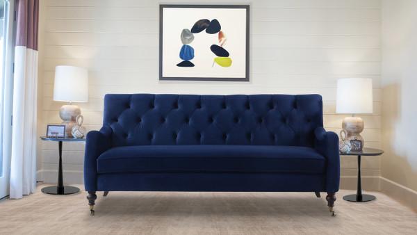 Xander Tufted Sofa, Navy Blue