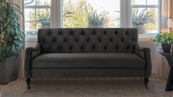 Xander Tufted Sofa, Dark Charcoal Grey