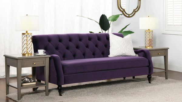 Xander Tufted Sofa, Purple