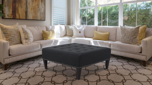 Michelle Tufted Cocktail Ottoman, Jet Black