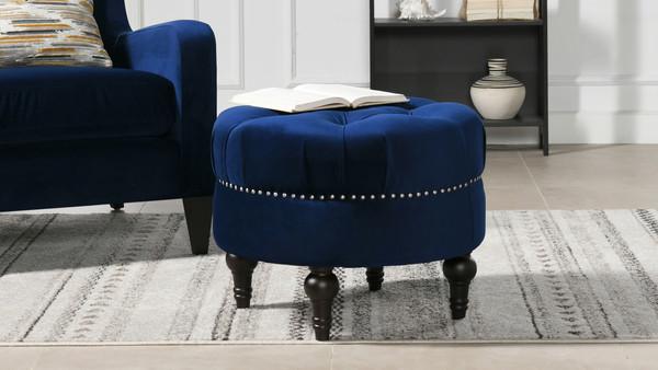 Dawn Tufted Round Ottoman, Navy Blue