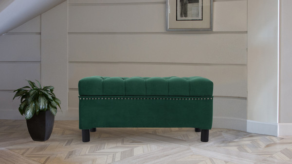 Renee Tufted Storage Bench, Evergreen