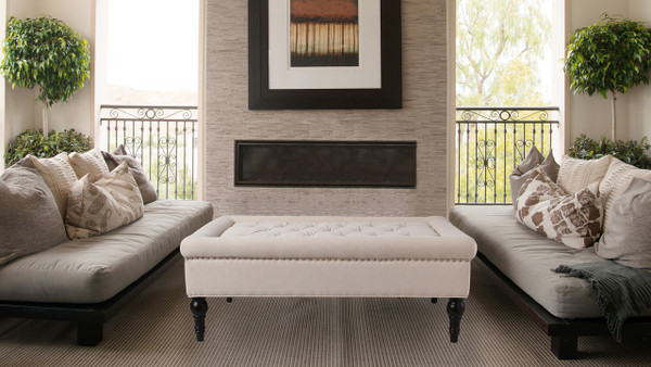 Giselle Cocktail Ottoman, Sky Neutral