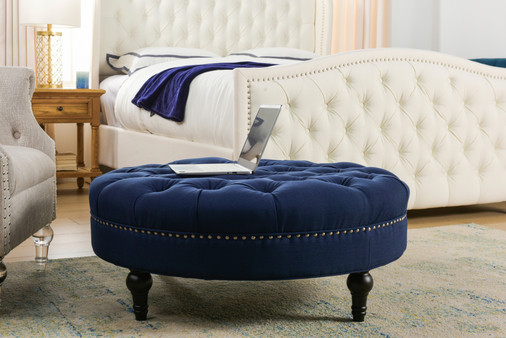 Lana Tufted Round Cocktail Ottoman, Midnight Blue